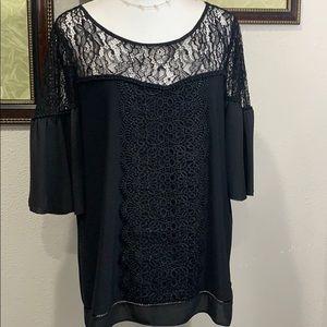 WHBM.black lace crochet ruffle trim Blause Sz XL